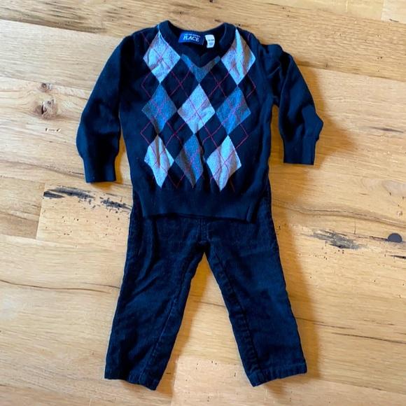 Sweater/corduroy combo